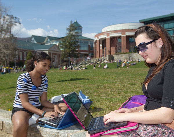 students studying on mall