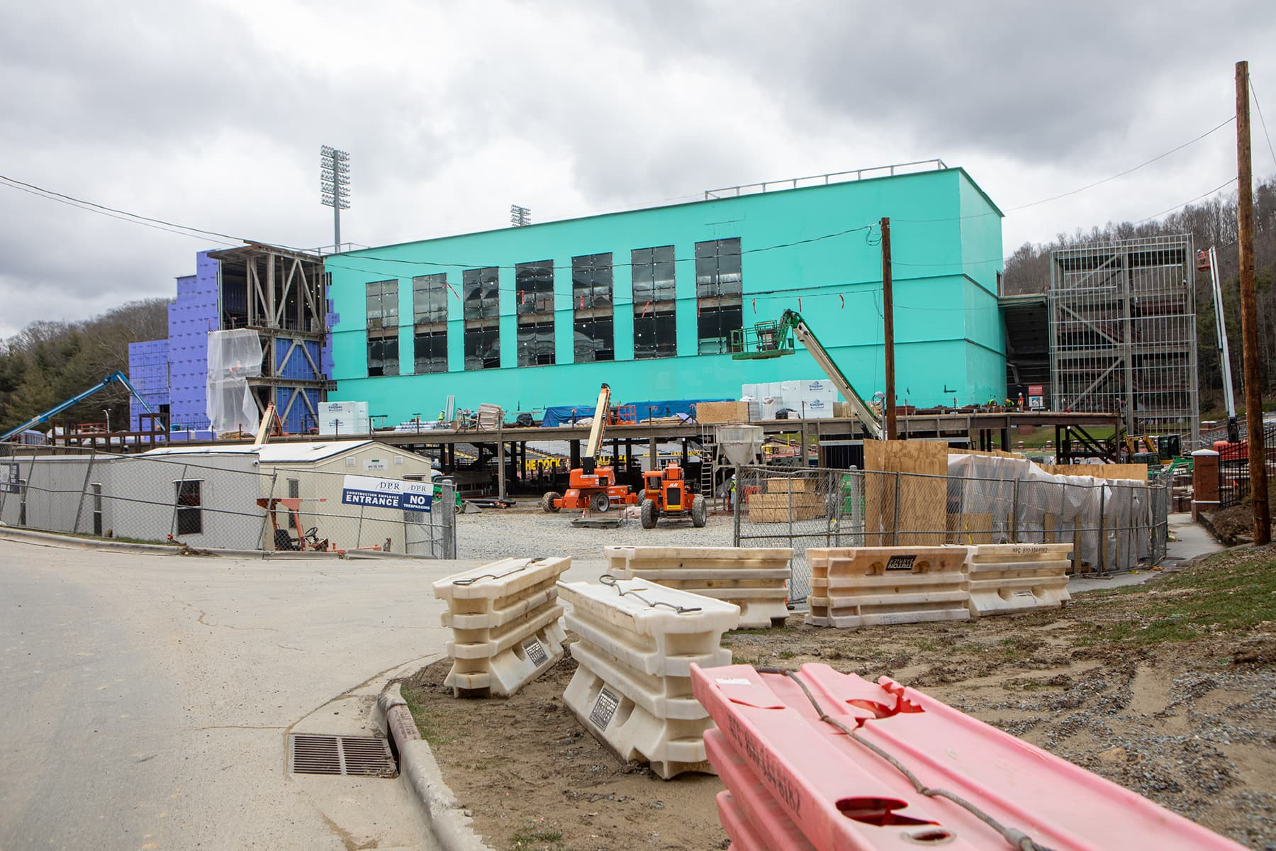 North end-zone construction
