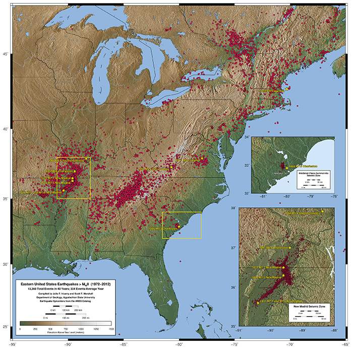 Maps of Eastern United States Earthquakes From 1972-2012