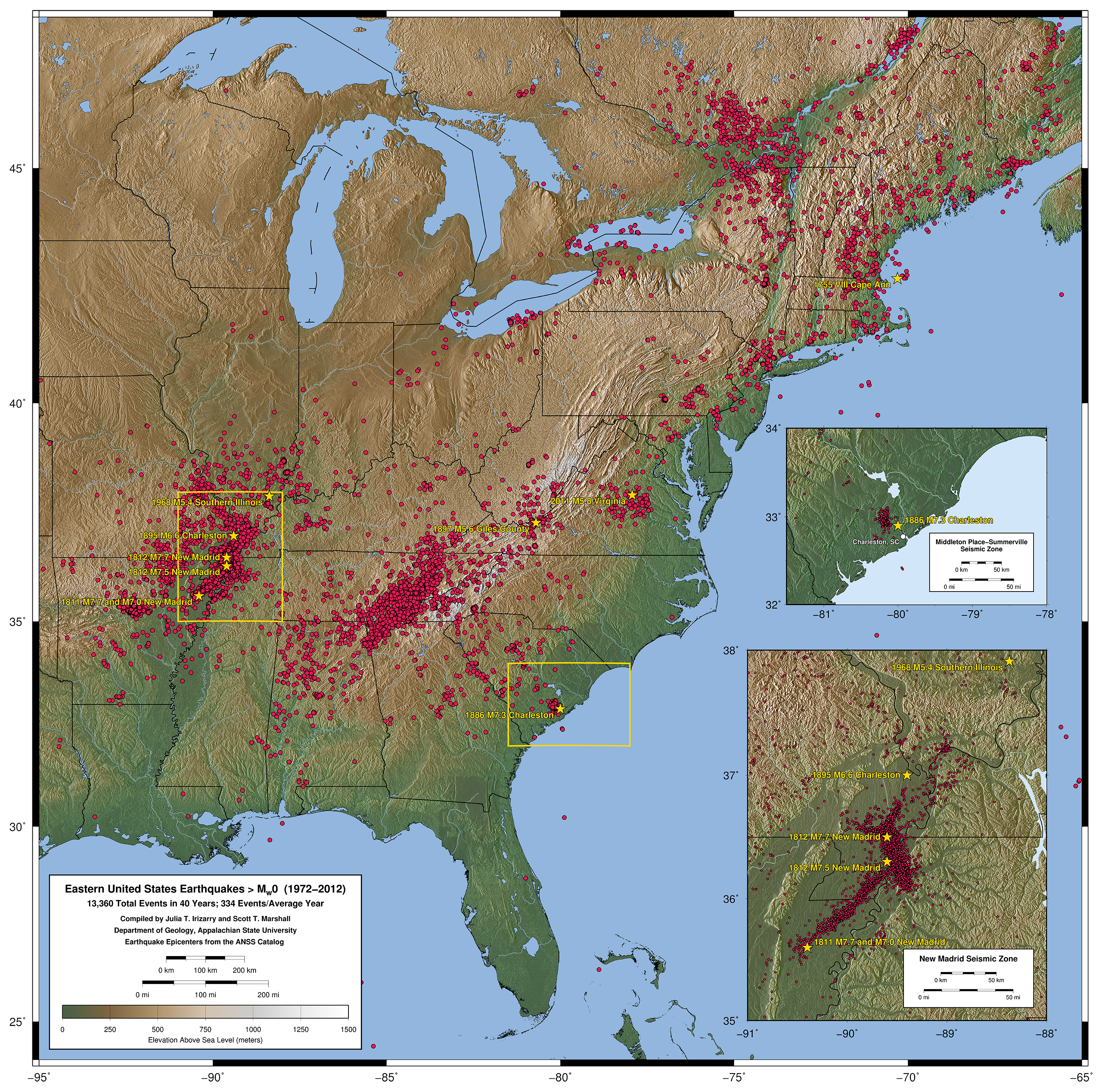 Maps Of Eastern United States Earthquakes From 1972 2012
